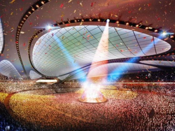 This artist rendering released by Japan Sport Council shows the new National Stadium, the main venue Tokyo plans to build for the 2020 Summer Olympics. Photo: AP