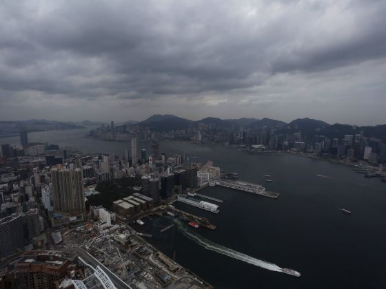 A general view of downtown Hong Kong and Victoria Harbour on July 9 as Typhoon Linfa approaches. Photo: Reuters