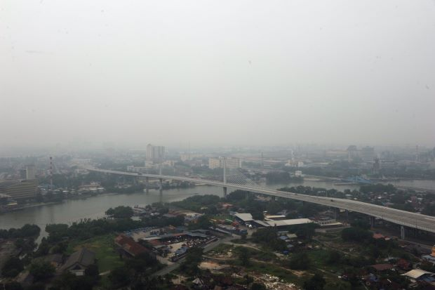 A view of Butterworth Outer Ring Road Bridge which partly visible due to haze.