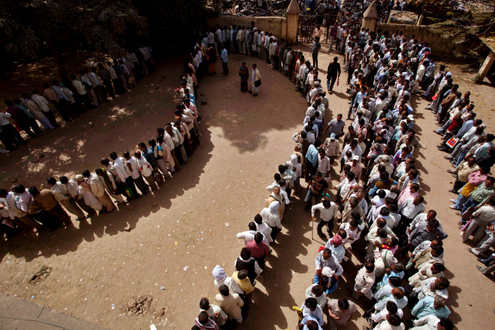 Unemployed Indians line up to register at the Employment Exchange Office in Allahabad. Photo: AP