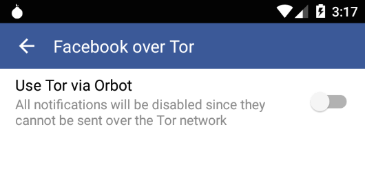 The new Facebook feature will look like this, a simple button to connect via Tor. Image source: CNN Money