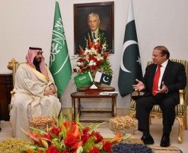 ISLAMABAD, PAKISTAN - JANUARY 10: Saudi Arabia's Defense Minister Mohammad Bin Salman Al Saud (L) meets Pakistani Prime Minister Nawaz Sharif (R) at the Prime Ministry Office in Islamabad, Pakistan on January 10, 2016.  (Photo by Pakistan Prime Ministry Press Office/Anadolu Agency/Getty Images)