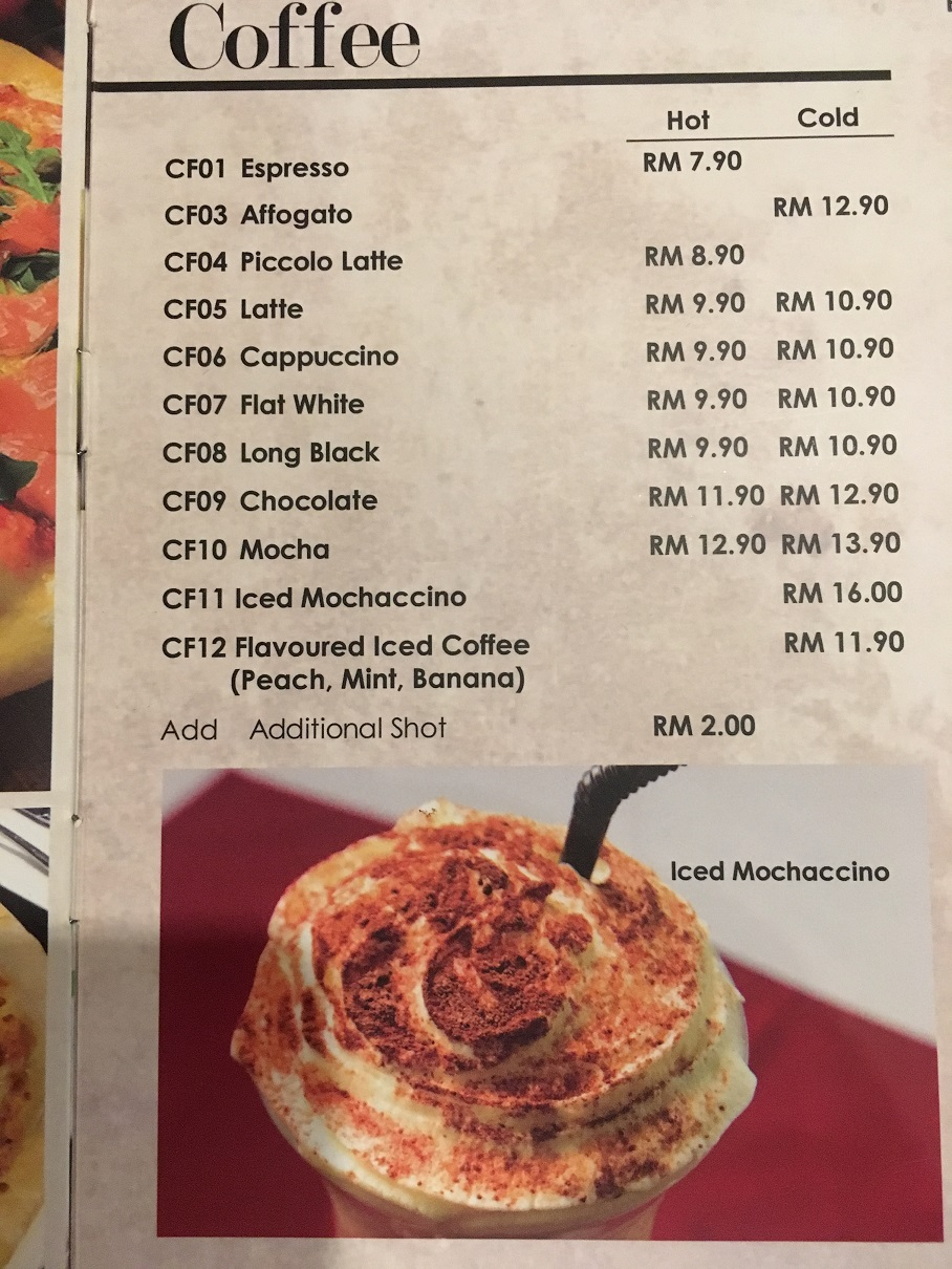 BRU Cafe Coffee Menu