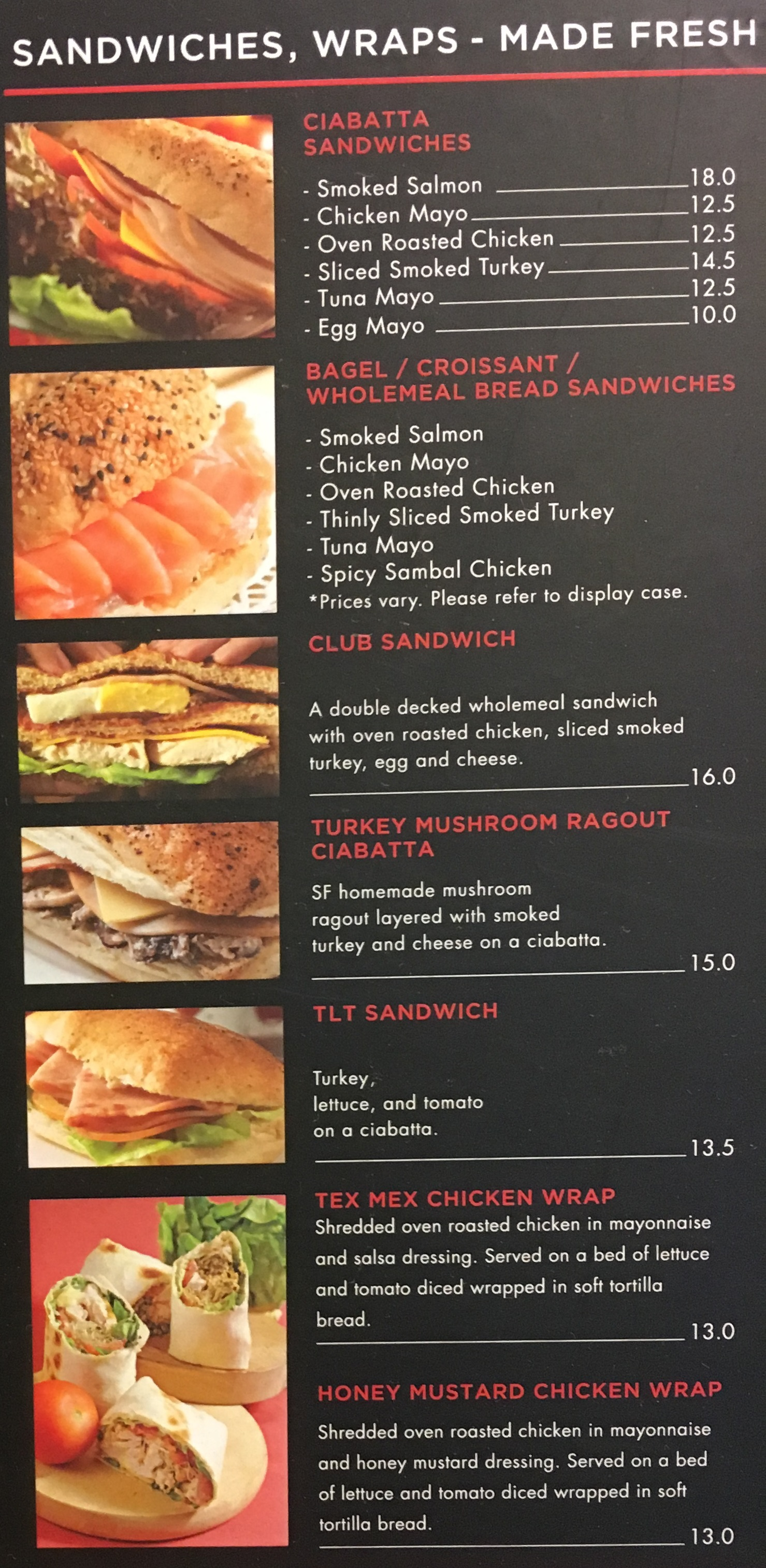 Sandwiches & Wrap Menu