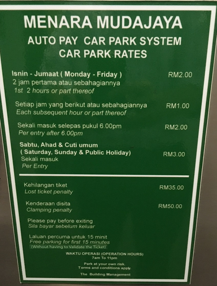 Menara Mudajaya Parking Rate
