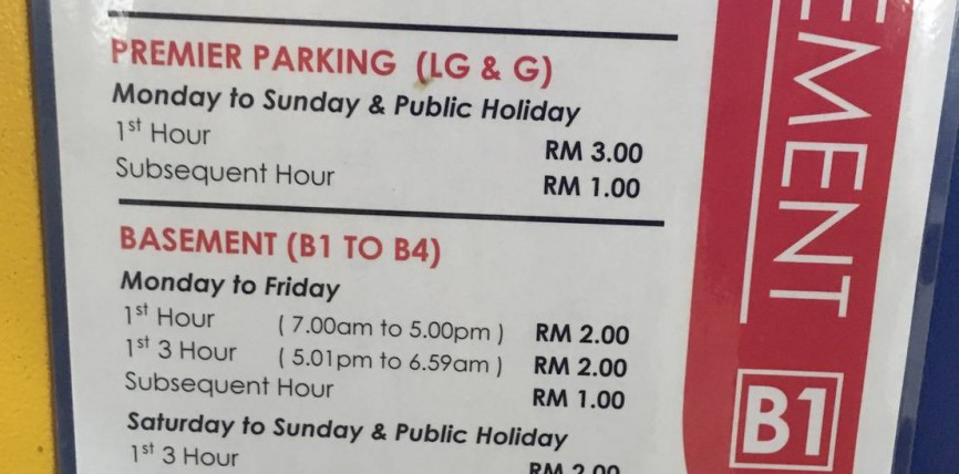 Empire Shopping Gallery Subang Parking Rate