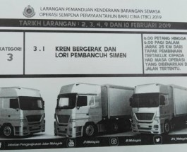 Heavy vehicles will be banned on highways from 2/2/2019 – 4/2/2019 and 9/2/2019 -10/2/2019 by Malaysia Road Transport Department (JPJ).