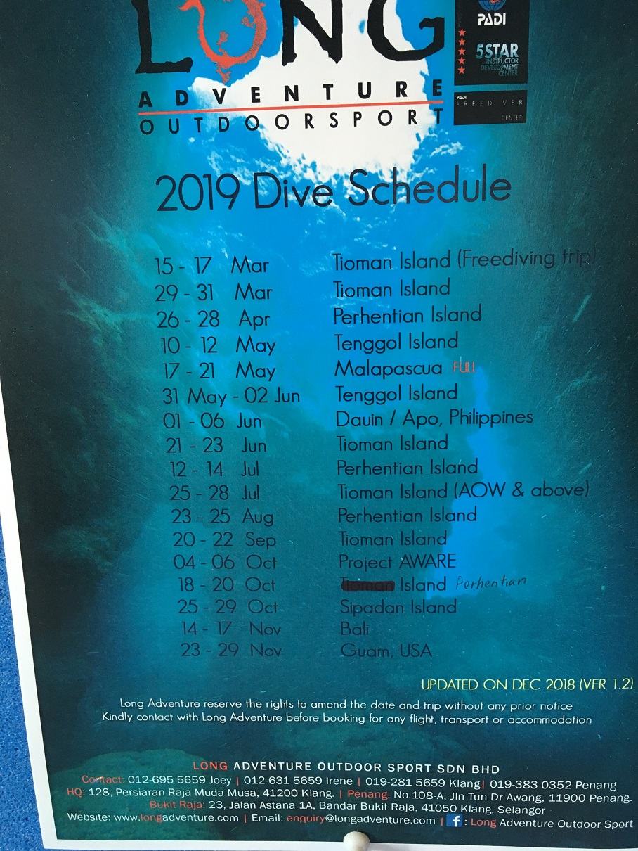 Long Adventure Outdoorsport 2019 Dive Schedule