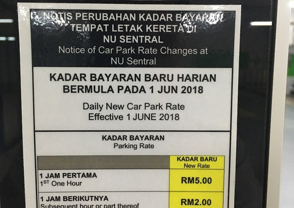 NU Sentral Parking Rate / Kadar Bayaran