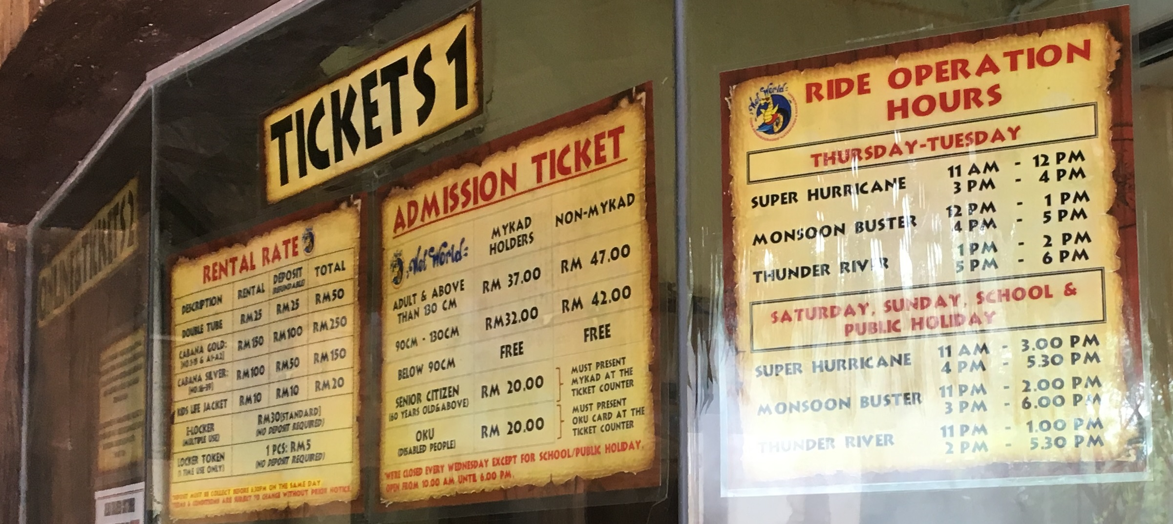 Wet World Ride Operation Hours Rental Rate